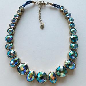 STUNNING blue crystal aurora iridescent necklace